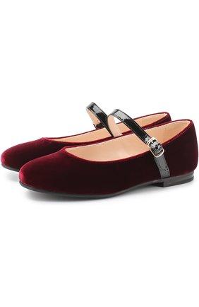 Текстильные туфли с кожаным ремешком | Фото №1