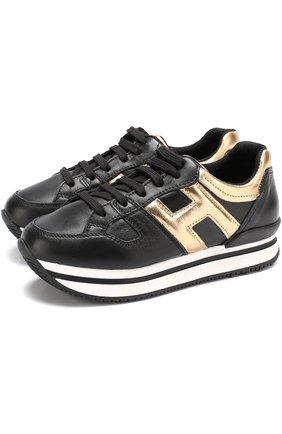 Кожаные кроссовки с металлизированной отделкой на толстой подошве | Фото №1