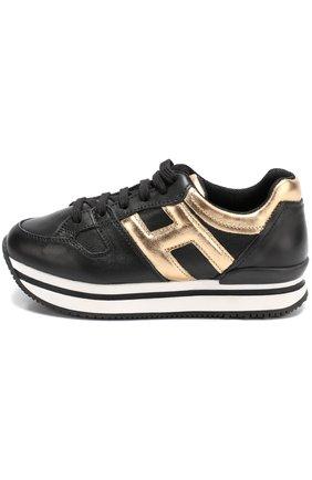 Кожаные кроссовки с металлизированной отделкой на толстой подошве | Фото №2