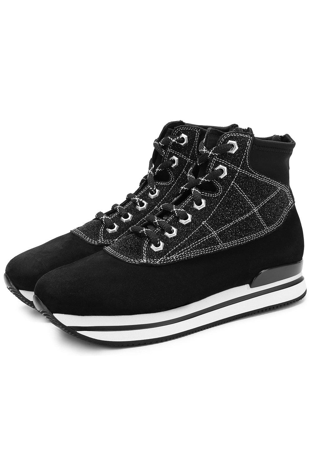 Высокие замшевые кроссовки на шнуровке | Фото №1