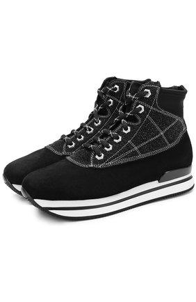 Высокие замшевые кроссовки на шнуровке Hogan черные | Фото №1