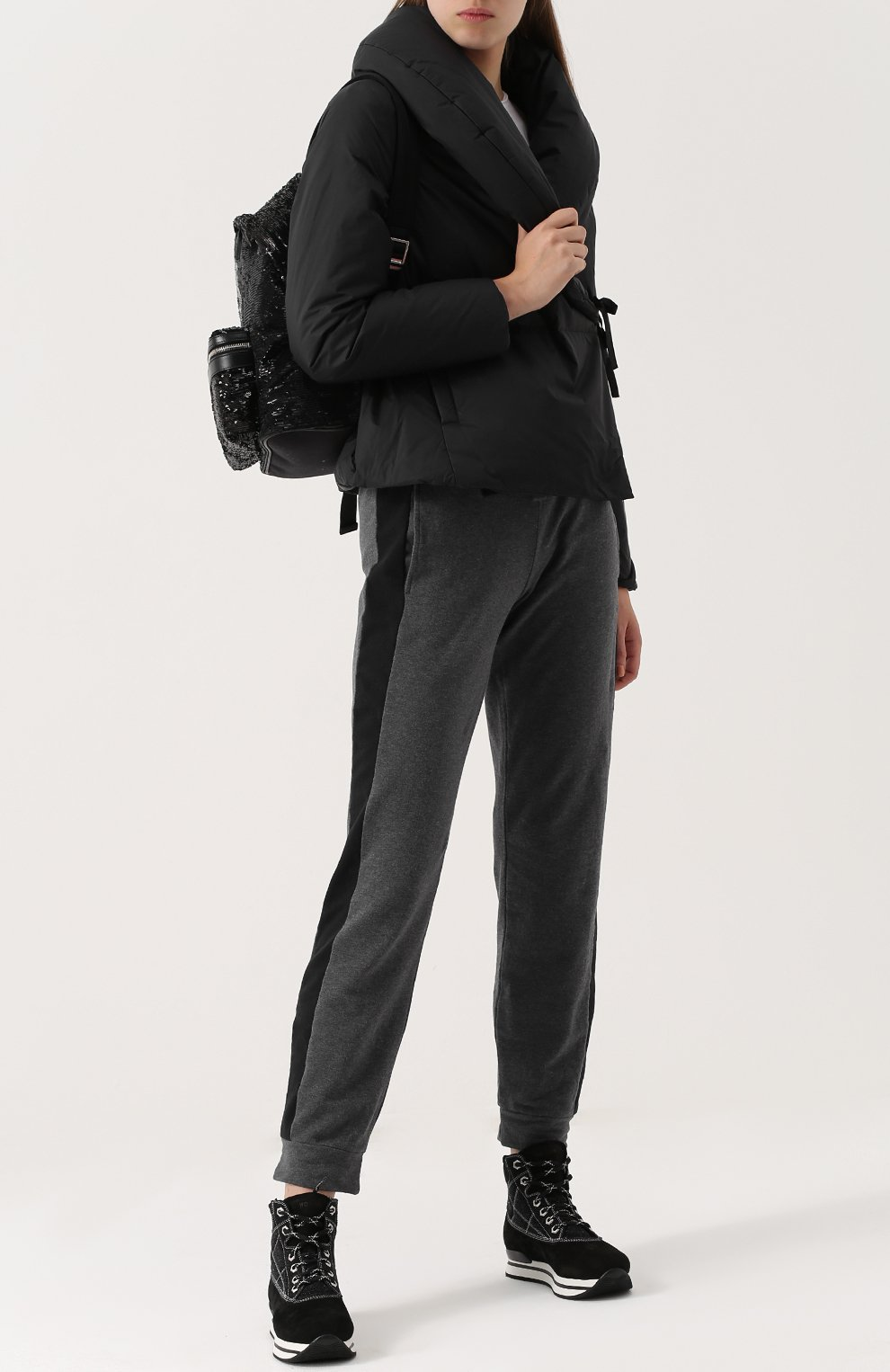 Высокие замшевые кроссовки на шнуровке Hogan черные | Фото №2