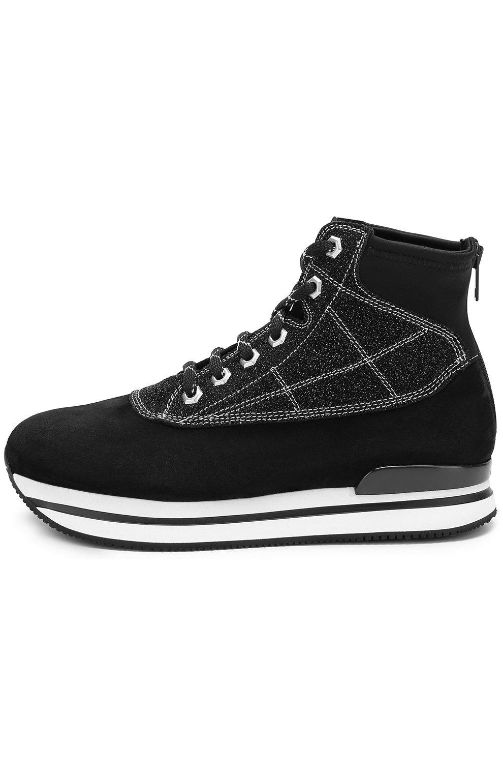 Высокие замшевые кроссовки на шнуровке Hogan черные | Фото №3