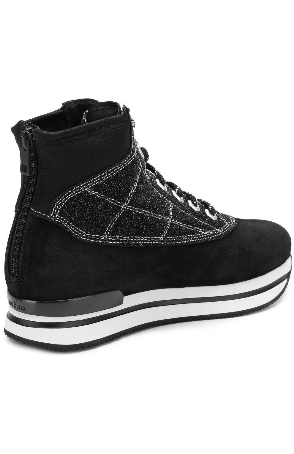 Высокие замшевые кроссовки на шнуровке Hogan черные | Фото №4