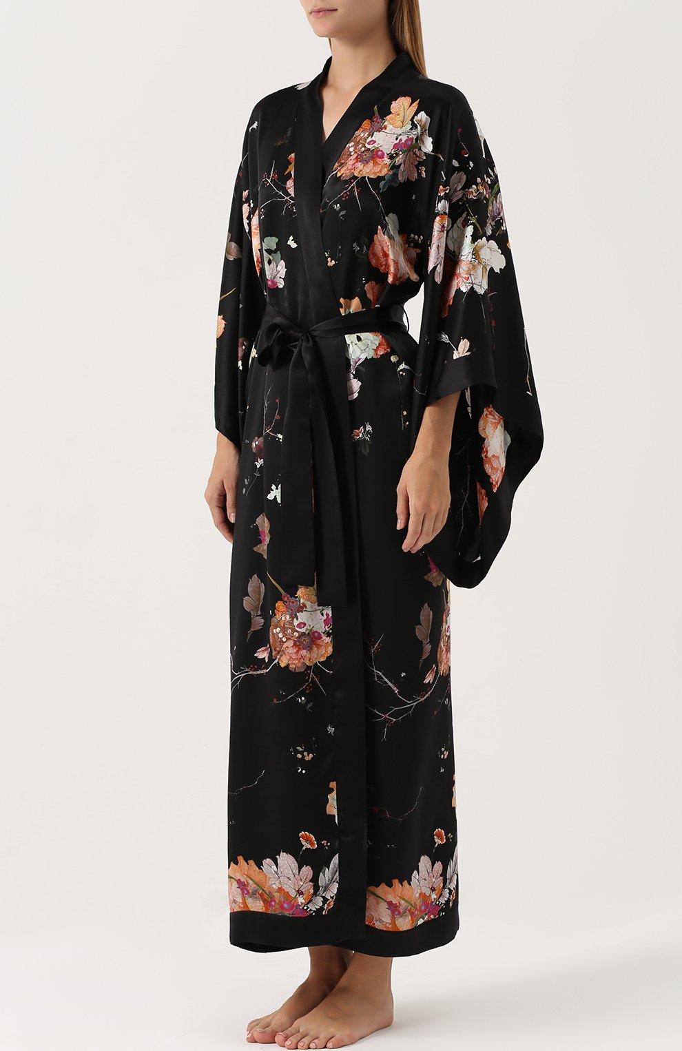 Шелковый халат с поясом и принтом | Фото №3