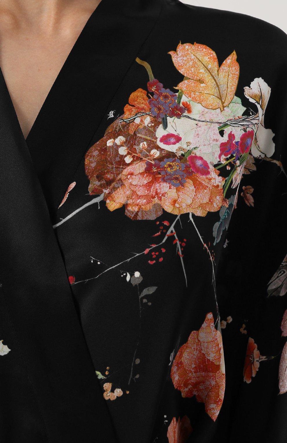 Шелковый халат с поясом и принтом | Фото №5