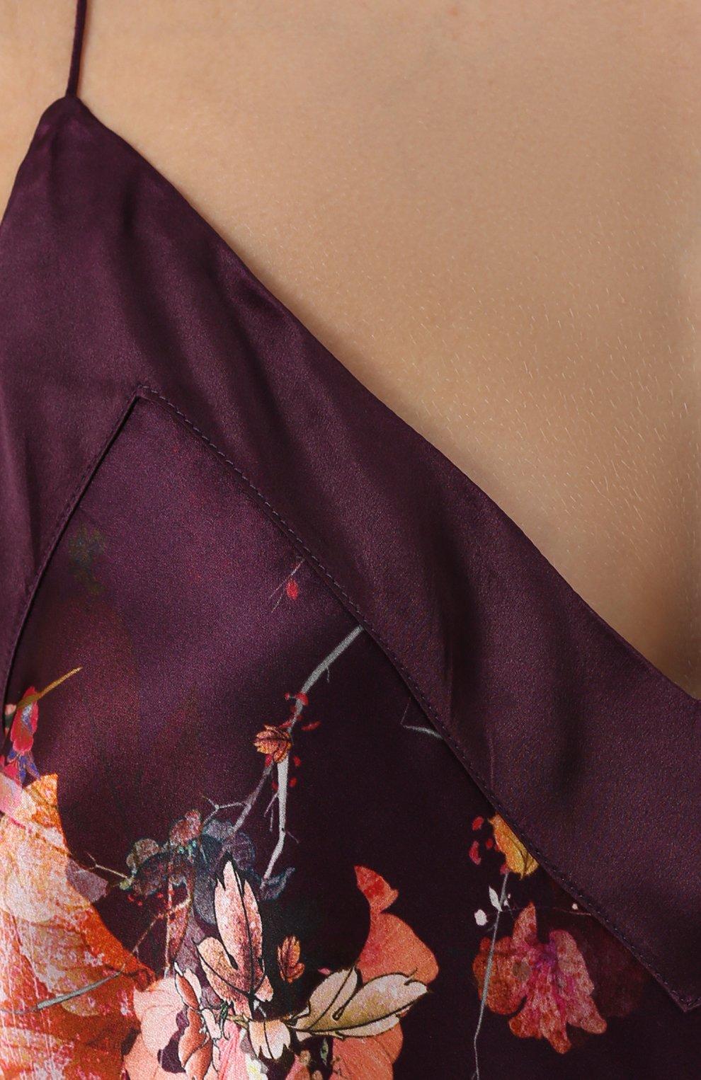 Шелковая сорочка с цветочным принтом | Фото №5