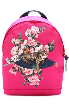 Текстильный рюкзак с принтом Dolce & Gabbana розового цвета | Фото №1