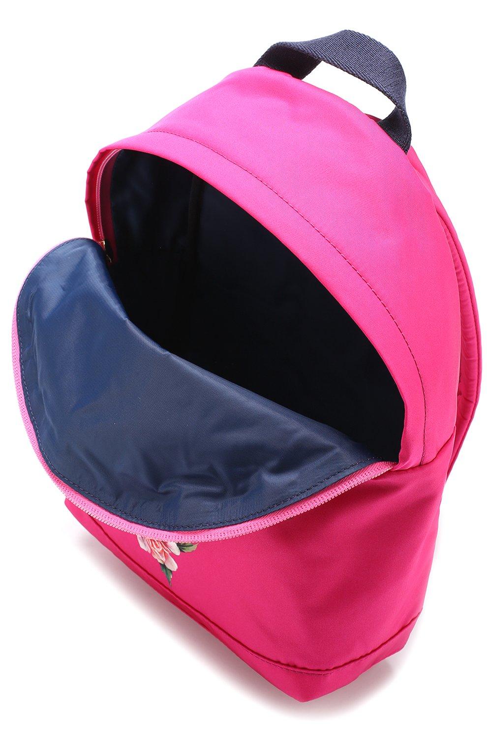 Текстильный рюкзак с принтом Dolce & Gabbana розового цвета | Фото №3