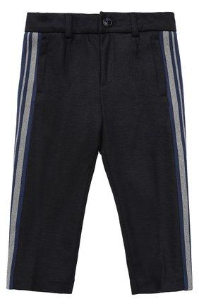 Детские шерстяные брюки прямого кроя с лампасами Dolce & Gabbana темно-синего цвета | Фото №1