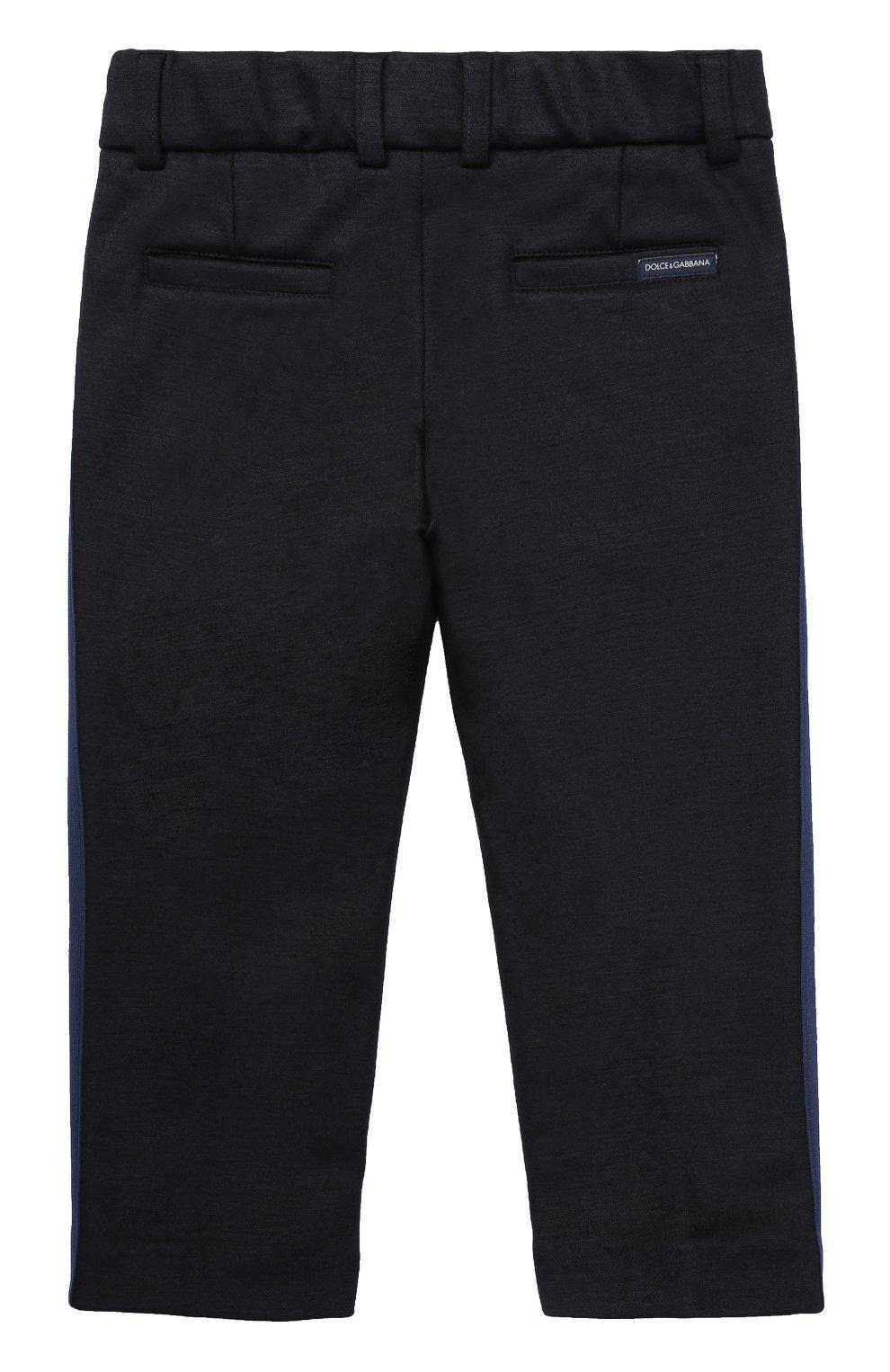 Детские шерстяные брюки прямого кроя с лампасами Dolce & Gabbana темно-синего цвета | Фото №2
