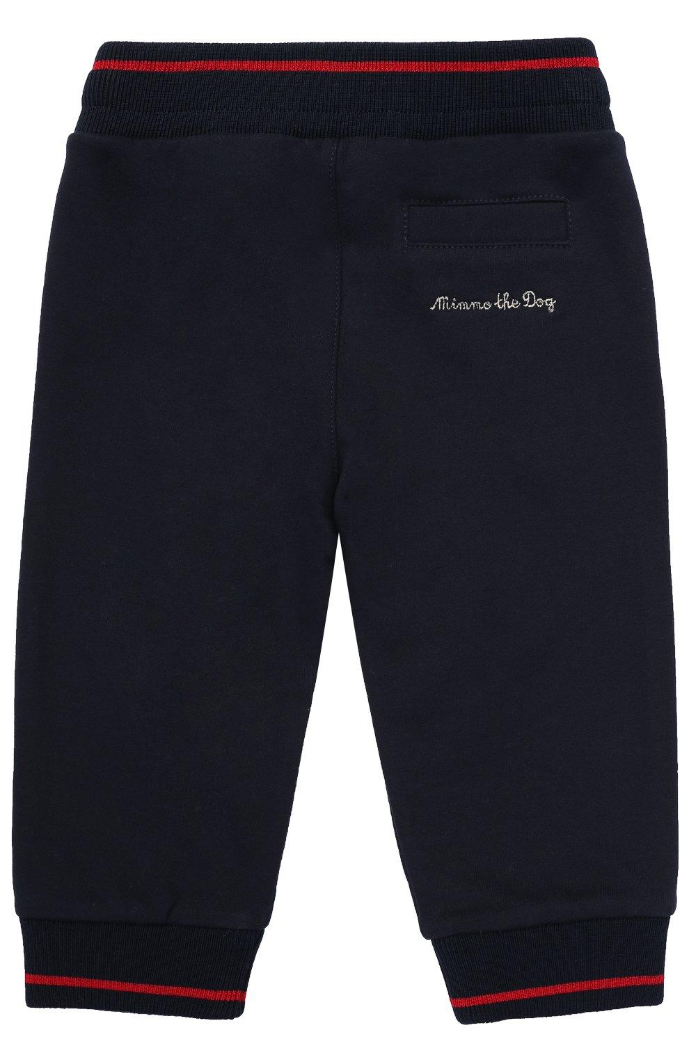 Хлопковые джоггеры с контрастной отделкой Dolce & Gabbana темно-синего цвета | Фото №2