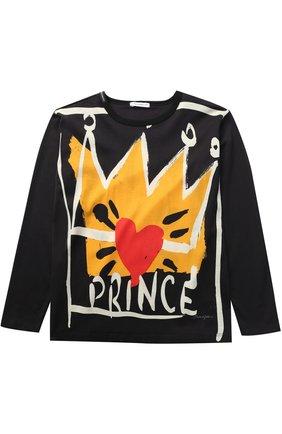 Детская хлопковый лонгслив с принтом Dolce & Gabbana черного цвета   Фото №1