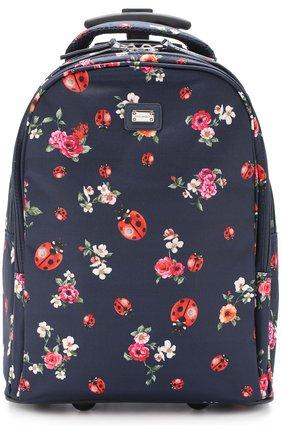 Текстильный чемодан с принтом Dolce & Gabbana синего цвета   Фото №1