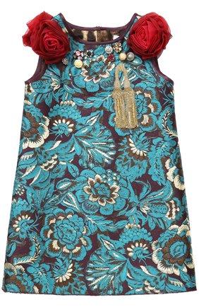 Детское мини-платье с цветочными аппликациями и декором Dolce & Gabbana зеленого цвета | Фото №1