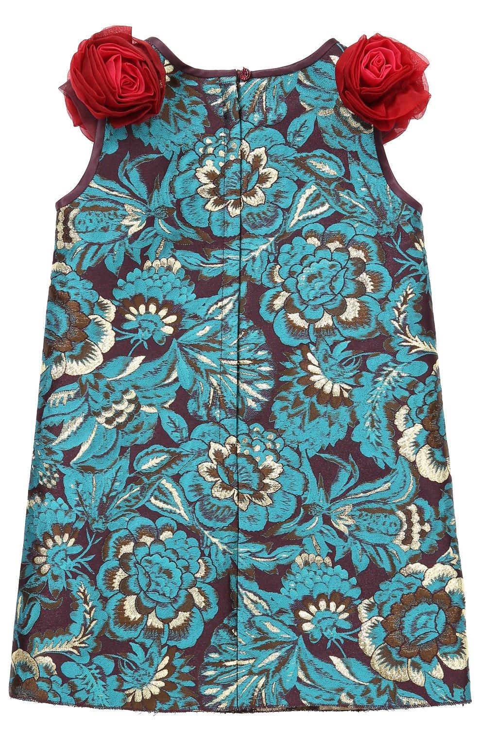 Детское мини-платье с цветочными аппликациями и декором Dolce & Gabbana зеленого цвета | Фото №2
