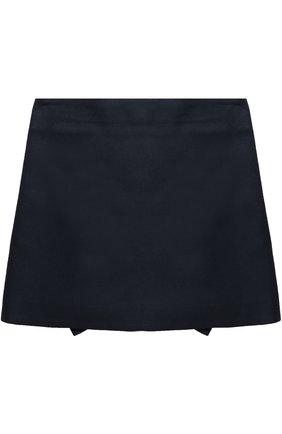 Детская мини-юбка с аппликацией и оборками Vivetta синего цвета | Фото №1