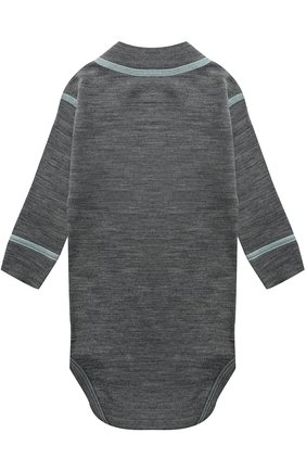 Детское боди с длинным рукавом и контрастной прострочкой NORVEG серого цвета, арт. 4SU04LRU | Фото 2