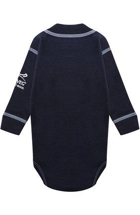 Детское боди с длинным рукавом и контрастной прострочкой NORVEG синего цвета, арт. 4SU04LRU | Фото 2