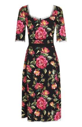 Приталенное платье-миди с цветочным принтом Dolce & Gabbana разноцветное | Фото №1