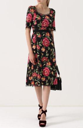 Приталенное платье-миди с цветочным принтом Dolce & Gabbana разноцветное | Фото №2
