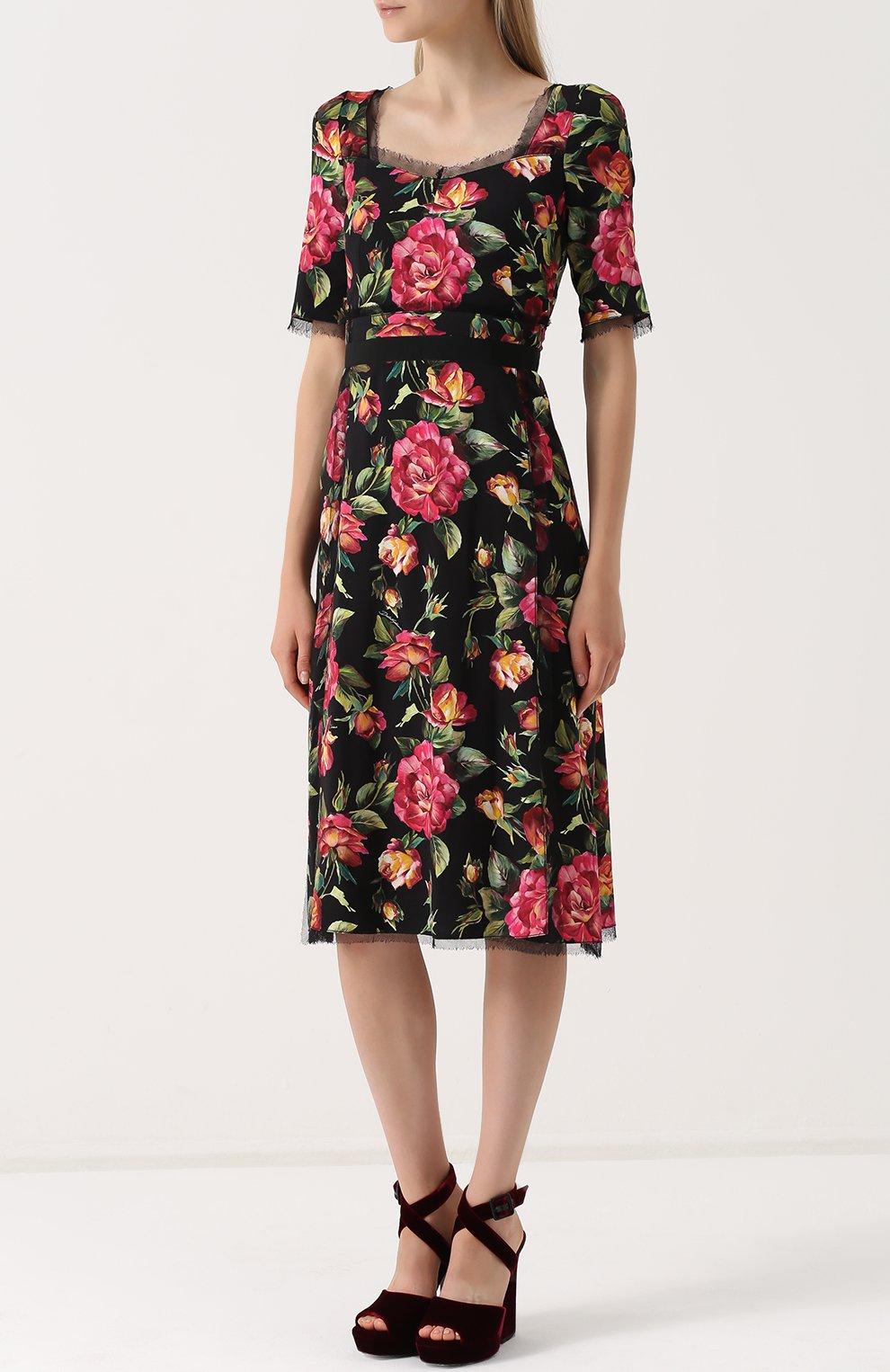 Приталенное платье-миди с цветочным принтом Dolce & Gabbana разноцветное | Фото №3
