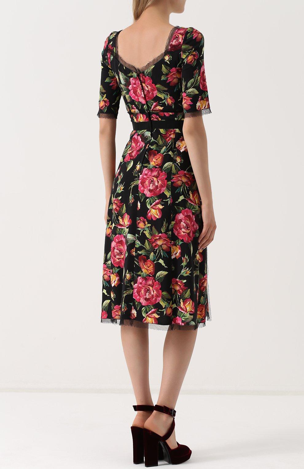 Приталенное платье-миди с цветочным принтом Dolce & Gabbana разноцветное | Фото №4