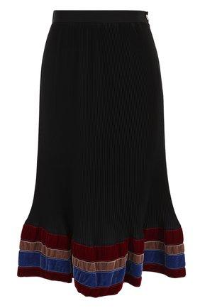 Плиссированная юбка-миди с бархатной отделкой | Фото №1
