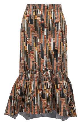 Хлопковая юбка-годе с принтом Stella Jean разноцветная | Фото №1