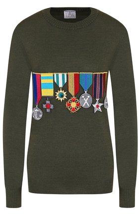 Шерстяной пуловер с круглым вырезом и нашивками | Фото №1