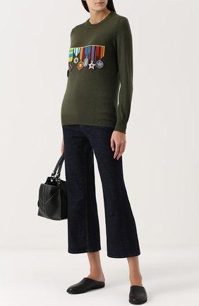 Шерстяной пуловер с круглым вырезом и нашивками Stella Jean зеленый | Фото №1