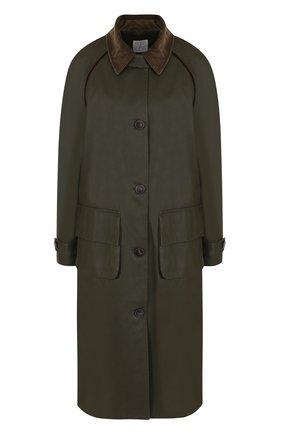 Хлопковое пальто свободного кроя Stella Jean хаки цвета   Фото №1