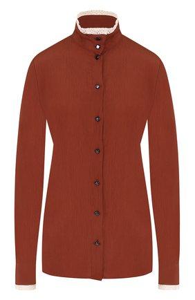 Женская блуза с воротником-стойкой и кружевной отделкой Stella Jean, цвет коричневый, арт. J C 004 00 T 9262 в ЦУМ | Фото №1