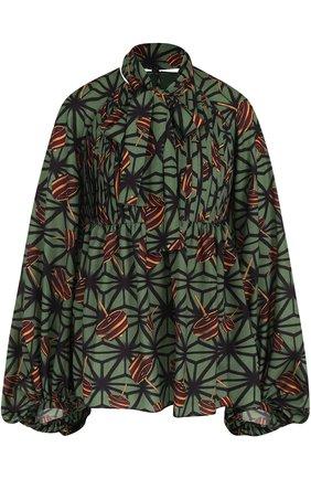 Блуза с принтом и воротником аскот | Фото №1