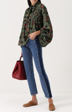 Женская блуза с принтом и воротником аскот Stella Jean, цвет зеленый, арт. J C 014 00 T 9327 в ЦУМ | Фото №1