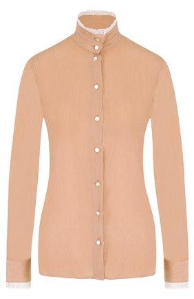Блуза с воротником-стойкой и кружевной отделкой | Фото №1