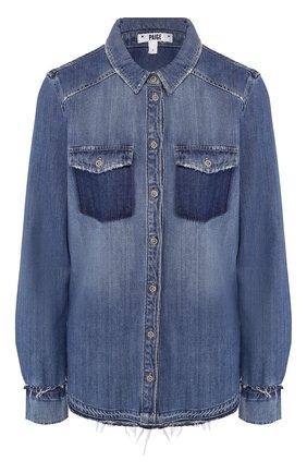 Джинсовая блуза прямого кроя с потертостями | Фото №1