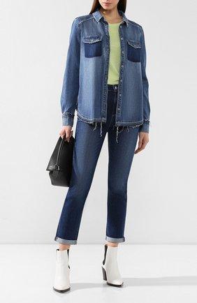 Джинсовая блуза прямого кроя с потертостями | Фото №2