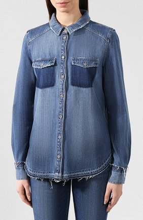 Джинсовая блуза прямого кроя с потертостями | Фото №3
