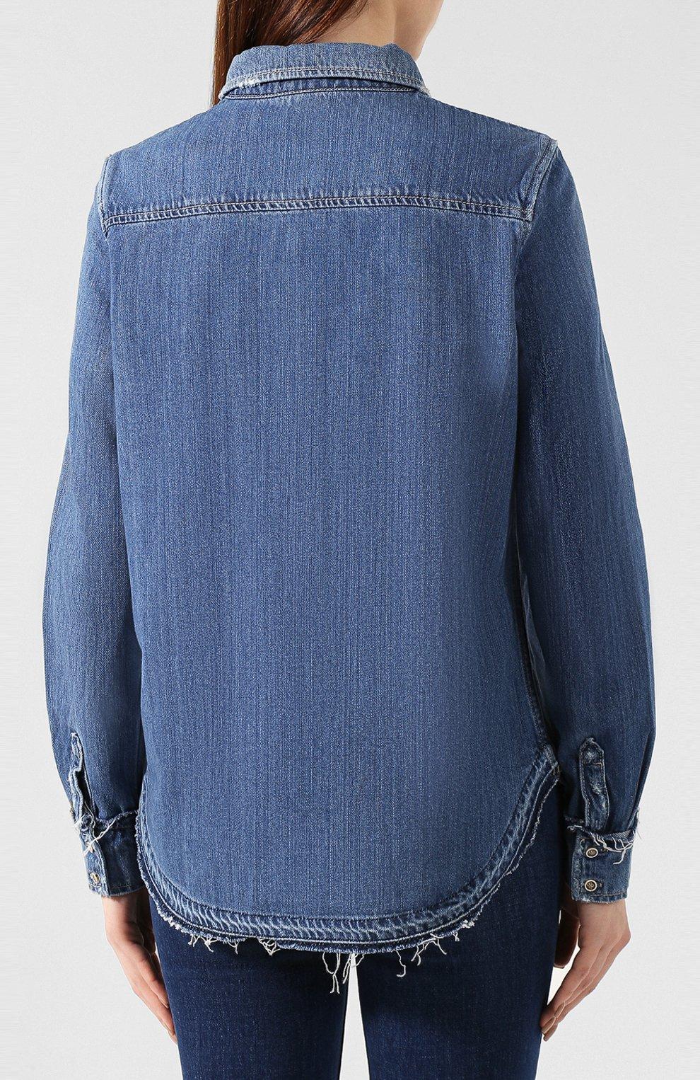 Джинсовая блуза прямого кроя с потертостями | Фото №4