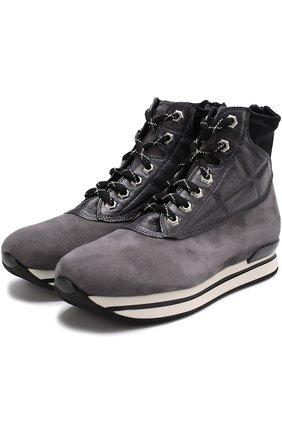 Замшевые ботинки на шнуровке Hogan серые | Фото №1