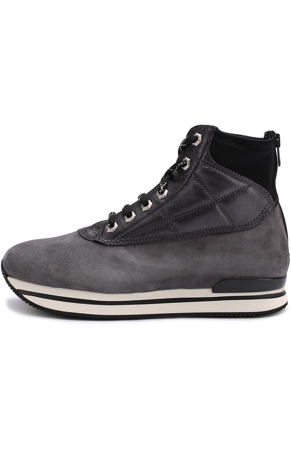 Замшевые ботинки на шнуровке Hogan серые | Фото №3
