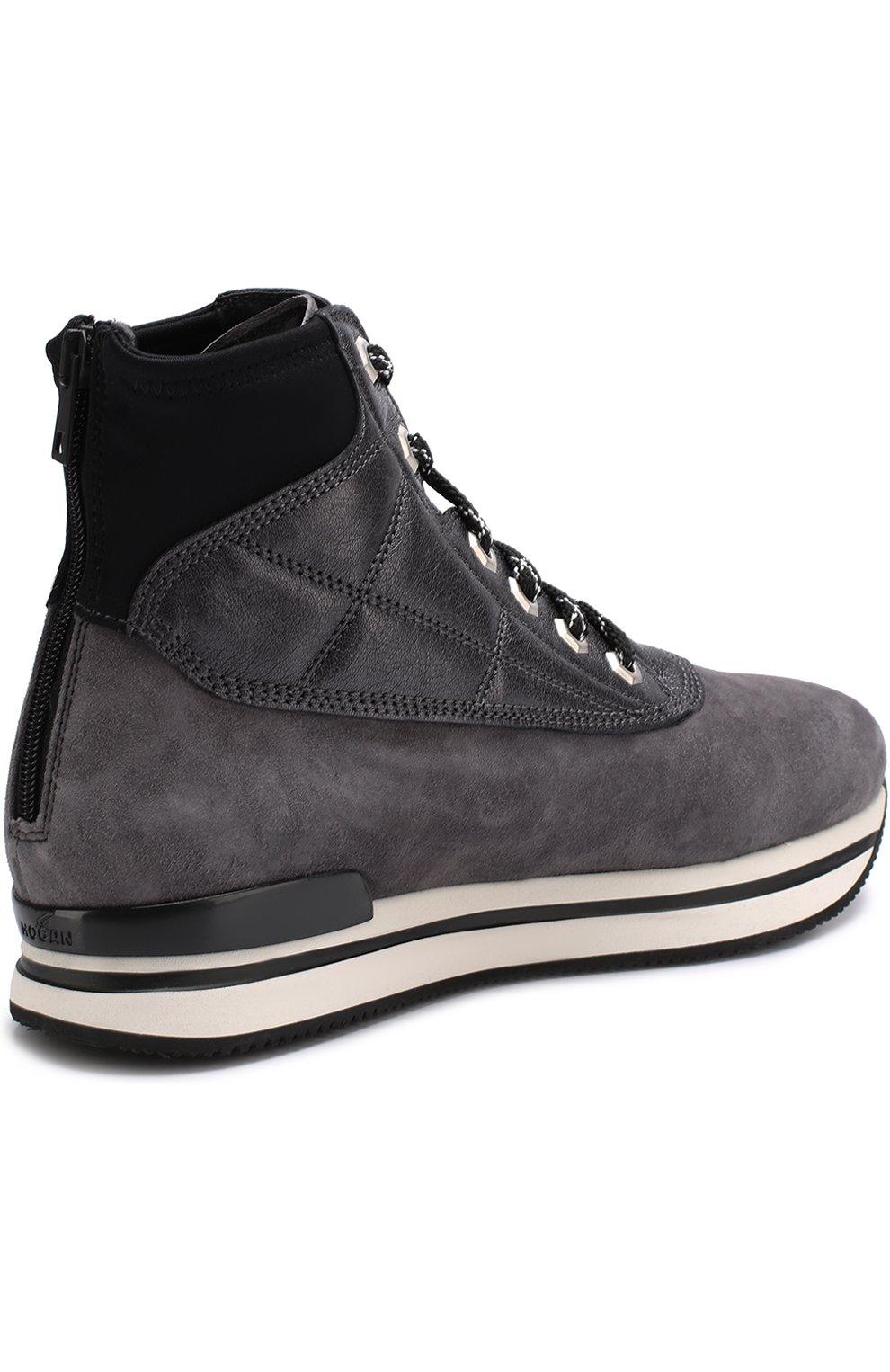 Замшевые ботинки на шнуровке Hogan серые | Фото №4