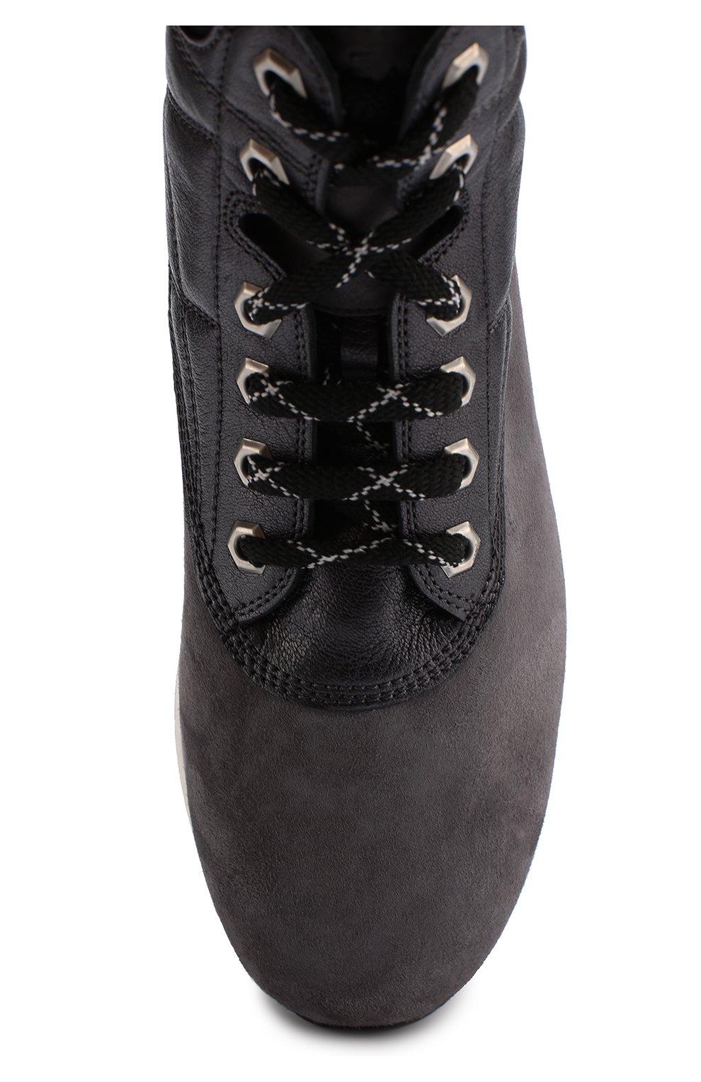 Замшевые ботинки на шнуровке Hogan серые | Фото №5