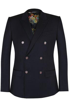 Двубортный шерстяной пиджак Dolce & Gabbana темно-синий | Фото №1