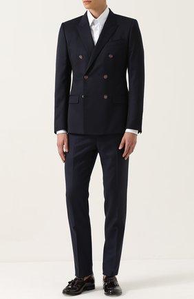 Двубортный шерстяной пиджак Dolce & Gabbana темно-синий | Фото №2