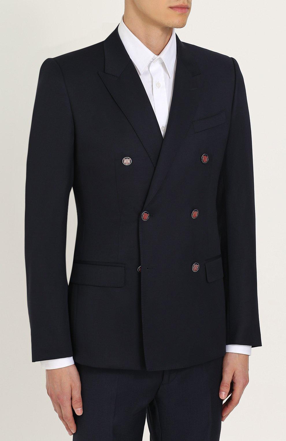 Двубортный шерстяной пиджак Dolce & Gabbana темно-синий | Фото №3