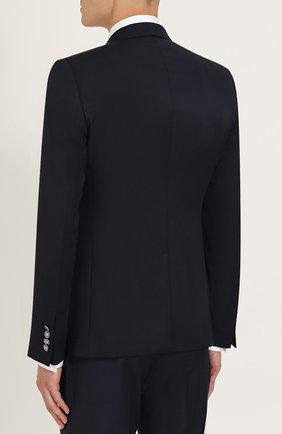 Двубортный шерстяной пиджак Dolce & Gabbana темно-синий | Фото №4