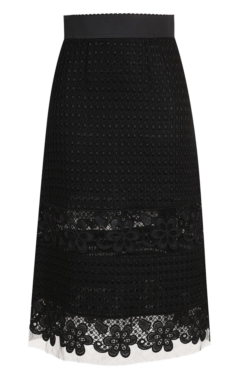 Кружевная юбка-миди с широким поясом | Фото №1