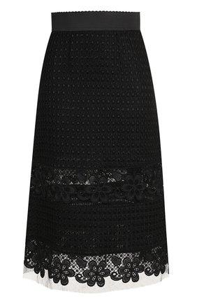Кружевная юбка-миди с широким поясом Dolce & Gabbana черная | Фото №1